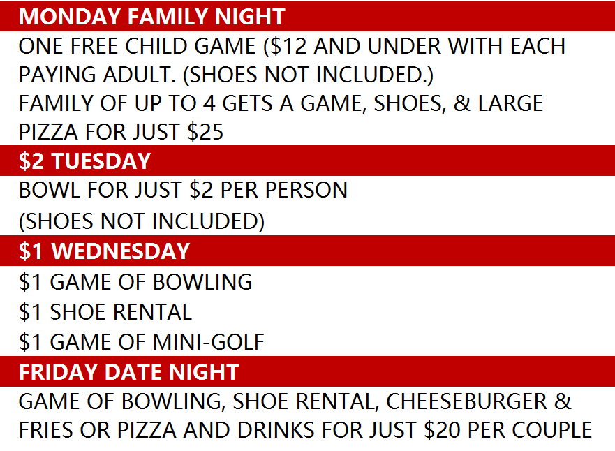 Daily Specials for Bowling and Mini-Golf at Brigham City Utah